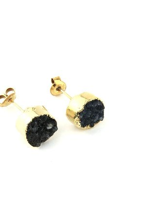 Brazi Druse Jewelry - Earrings Druza Agatu Dark Blue złoto