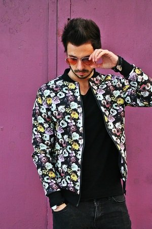 Kurtka button bomber jacket flower unisex