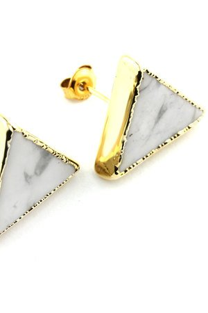 Brazi Druse Jewelry - Earrings Howlit złoto