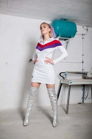 REST_FActory - White Bodycon zip dress