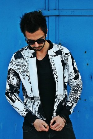 Kurtka button bomber jacket comics unisex