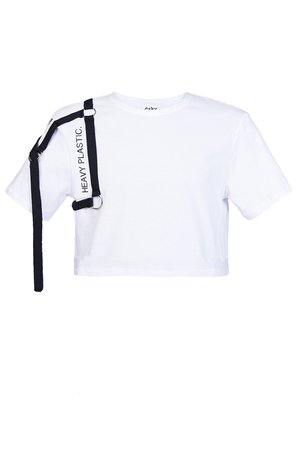 DZKY by maciek sieradzky - CROP TOP white heavy plastic. black stripes
