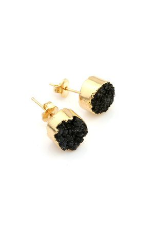 Earrings druza agatu czern zloto