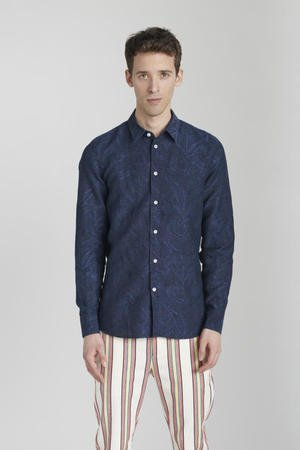 Black navy blue jacquard shirt