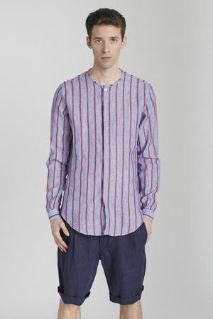 Blue red striped linen shirt
