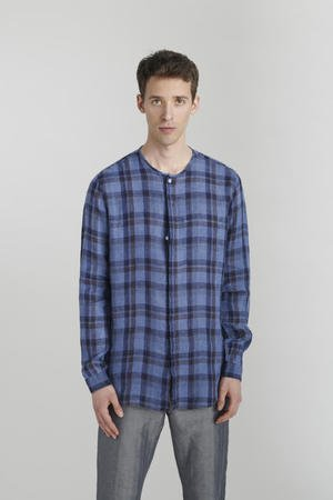 Dark blue checked linen shirt
