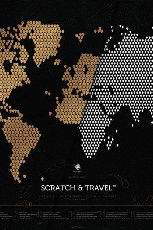 Scratch Map - Mapa Zdrapka Świata LOFT BLACK© Scratch&Travel™