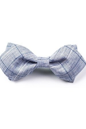 r3s men's accessories - MUCHA MĘSKA LNIANA GOTOWA BLUE LIGHT PLAID
