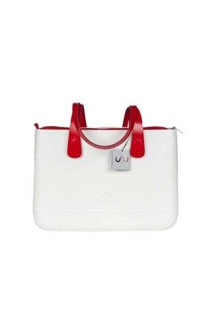 Doubleu bag - TORBA LARGE BASIC WHITE HANDLE RED