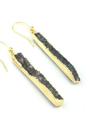 Brazi Druse Jewelry - Earrings Agat Long Grey złoto