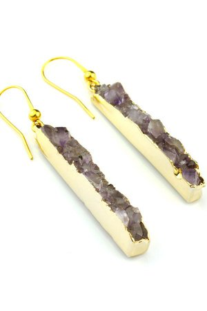 Brazi Druse Jewelry - Earrings Long Agat Light Violet złoto