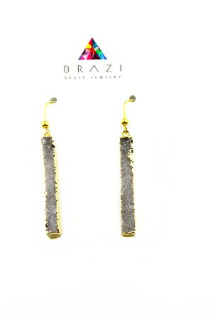 Brazi Druse Jewelry - Earrings Long Agat Szare złoto