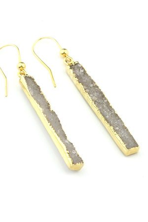 Brazi Druse Jewelry - Earrings Long Agat Natural złoto