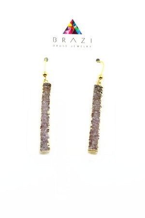 Brazi Druse Jewelry - Earrings Long Agat Pink złoto