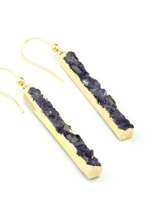 Brazi Druse Jewelry - Earrings Long Agat Dark Blue złoto