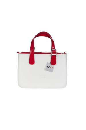 Doubleu bag - TORBA MEDIUM BASIC WHITE RED HANDLE