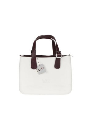 Doubleu bag - TORBA MEDIUM BASIC WHITE HANDLE DARK BROWN