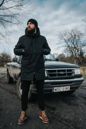 The Urban Beard - Parka All Black Ocieplana