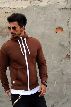 Button - BLUZA HOODIE SIMPLE UNISEX brązowa brown
